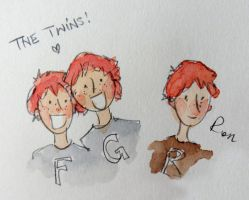 HP Fancomic preview - the younger Weasley brothers by button-bird