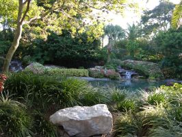 Garden with waterfall stock 4 by FairieGoodMother