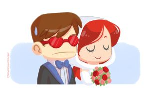 The Wedding of Cyclops and Phoenix by strawberryquiche