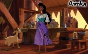 Esmeralda in the Cathedral of Notre Dame by Aimka