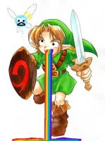 OoT Link throwing up Rainbows by SuperZelink