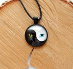 Cat black and white pendant by koshka741