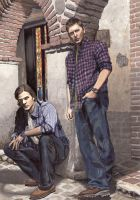 Sam and Dean - colour by lupinemagic