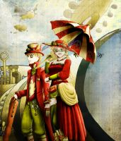 APH - Old but gold...and colourful steampunk twins by xXJustForFunXx