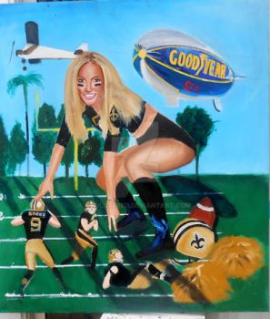 Giant Saints cheerleader,oil by Paulstered