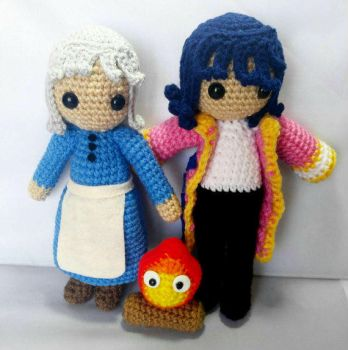 Howl, Sophie, and Calcifer by milliemouse579