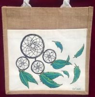 Dreamcatcher Hand Painted Tote Bag by Ceil