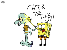 Hanging out with Squidward by SuperMaster10