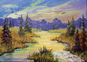 ACEO Just Around The Riverbend by annieoakley64