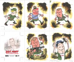 SGT FURY sketchcards 01-05 by thecheckeredman