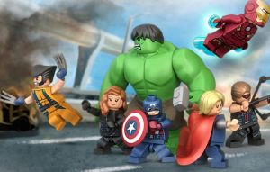 lego avengers and wolverine by megasonicbros