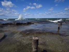 waves and rock by chrisstone3