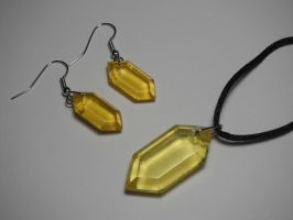 Rupee Earring and Pendant Set (yellow) by ChinookCrafts