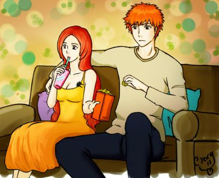 Ichihime Watching TV Colored by CzaGarcia