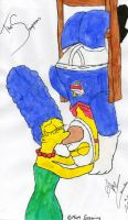 Homer and  Marge Simpson by MissAmyLovett