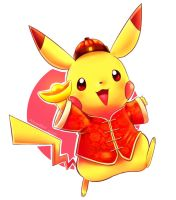 Chinese pikachu of prosperity by Vermeilbird