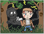 Chibi Miles Upshur and Walrider colored by Jeido