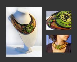 Crop circles leather necklace by julishland