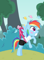 Filly Rainbow Dash wedgied by butterflies by Liggliluff