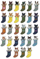 TGB Stocking Cats!  Batch 1! by FrostheartIsSiamese