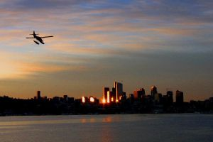 Lake Union Sunrise Seaplane by dsiegel