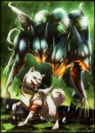 Persona - Koromaru and Cerberus FIGHT by Aurora-Silver