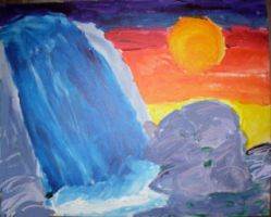 waterfall painting by IlluminatiOfTwilight