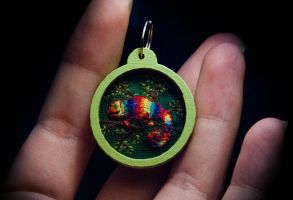 Tiny embroidered chameleon 2 by Sentimenthol