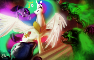 Celestia vs the undead by AtomicWarpin