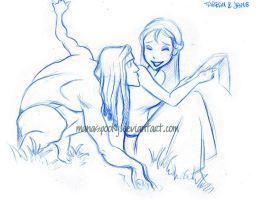 Tarzan Doodles:Tarzan and Jane by Martina-G