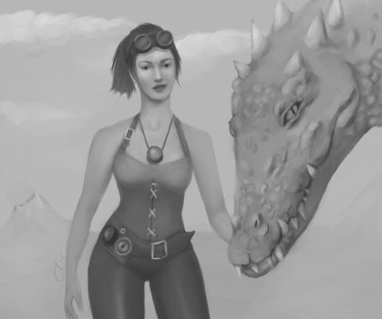 Steampunk girl with dragon by harvellejo