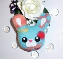 Pocket Bunny Plush - Patchy Fun, Happy Bun by happysquidmuffin