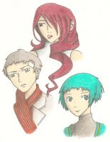 Persona 3 sketches - Colored by Fayina-Kei-Sancia