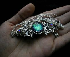 Victorian Barrette - Color Shifting Blue Silver by LadyPirotessa