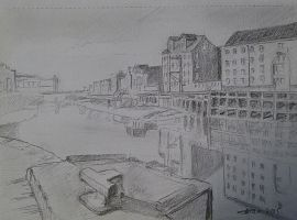 Sketch of the Riverbank, River Hull looking south by oldgroaner