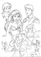 Ariel and Eric Doodles by Yumi--mystery