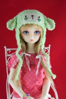 Green Lamb Hat for SD BJD by guppykisses