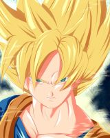 super saiyan goku headshot by ivan1426