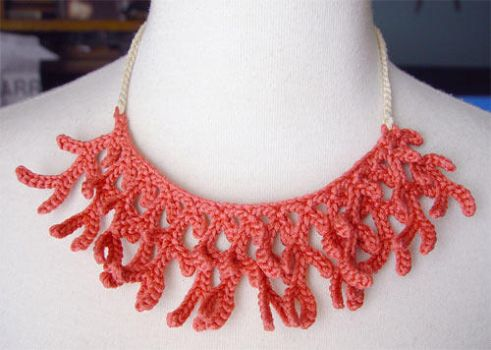 Crochet silk coral necklace by meekssandygirl