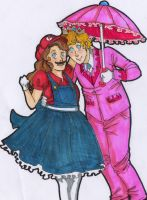 mario and peachy by Minteabunny