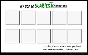 Top 10 Scary Characters Meme by SithVampireMaster27