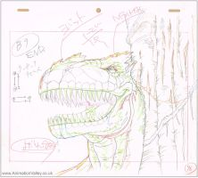 Cadalacs and Dinosaurs production cel drawing by AnimationValley