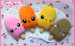 Cute Ice Lolly Plushies by CherryAbuku