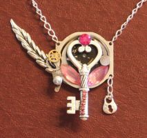 Steampunk pink pendant by Lucky978