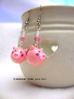 pink piggie earrings by xlilbabydragonx