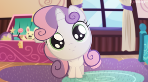 Sweetie Belle is looking into the camera by Rainihorn
