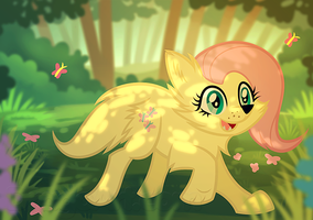 My Little Canine - Fluttershy by Dragoart