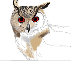 Siberian Eagle Owl in Paint by Earldense