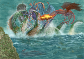 Hydra vs dragons by PabloRemiro