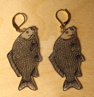 Carp earrings by AilurusFulgensArt
